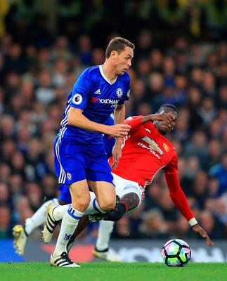 "Chelsea's Nemanja Matic (left) and Manchester United's Paul Pogba battle for the ball during the Premier League match at Stamford Bridge, London. PRESS ASSOCIATION Photo. Picture date: Sunday October 23, 2016. See PA story SOCCER Chelsea. Photo credit should read: John Walton/PA Wire. RESTRICTIONS: EDITORIAL USE ONLY No use with unauthorised audio, video, data, fixture lists, club/league logos or ""live"" services. Online in-match use limited to 75 images, no video emulation. No use in betting, games or single club/league/player publications."