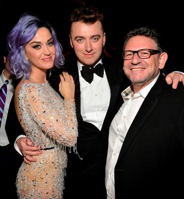 LOS ANGELES, CA - FEBRUARY 08: (L-R) Recording artists Katy Perry and Sam Smith and Chairman & CEO, UMG Worldwide Lucian Grainge attend Universal Music Group 2015 Grammy After Party presented by American Airlines and Citi on February 8, 2015 in Los Angeles, California.  (Photo by Lester Cohen/Getty Images for Universal Music Group)