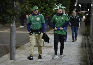 12th November 2020 Northern Ireland fans pictured as they arrive at the National Stadium in Belfast ahead of tonights game against Slovakia Mandatory Credit : Stephen Hamilton