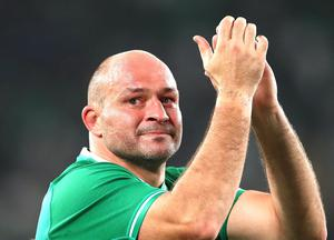 New Zealand v Ireland - Rugby World Cup 2019: Quarter Final...CHOFU, JAPAN - OCTOBER 19: Rory Best of Ireland shows appreciation to the fans following defeat in the Rugby World Cup 2019 Quarter Final match between New Zealand and Ireland at the Tokyo Stadium on October 19, 2019 in Chofu, Tokyo, Japan. (Photo by Cameron Spencer/Getty Images)...S