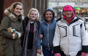 Northern Ireland- 7th December 2012 Mandatory Credit - Photo-Jonathan Porter/Presseye.  JLS, Girls Aloud and Mrs Brown tickets go on sale at Ticketmaster in Belfast City Centre.  People pictured queuing up for the tickets.  Left to right.  Amy McCord, Chloe Ashe, Rachael Hawthorne and Patricia Roach.