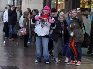 Northern Ireland- 7th December 2012 Mandatory Credit - Photo-Jonathan Porter/Presseye.  JLS, Girls Aloud and Mrs Brown tickets go on sale at Ticketmaster in Belfast City Centre.  People pictured queuing up for the tickets.
