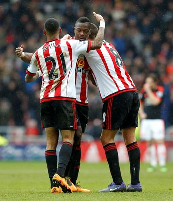Sunderland's Yann M'Vila (left), Lamine Kone (centre) and Jack Rodwell celebrate after the Barclays Premier League match at the Stadium of Light, Sunderland. Owen Humphreys/PA Wire.