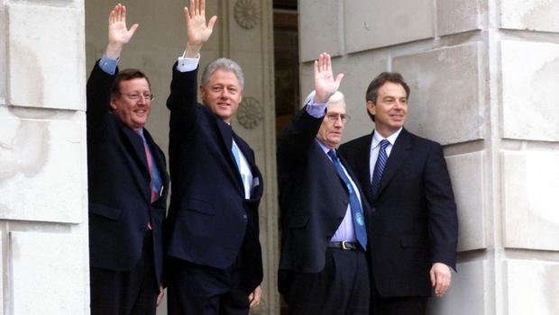 Former US president Bill Clinton, then-UK prime minister Tony Blair, former first minister David Trimble and Seamus Mallon, pictured in 2000 (Chris Bacon/PA)