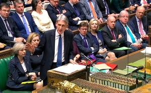 A video grab from footage broadcast by the UK Parliament's Parliamentary Recording Unit (PRU) shows Chancellor Philip Hammond deliver Autumn Statement. Pic: HO/AFP/Getty Images