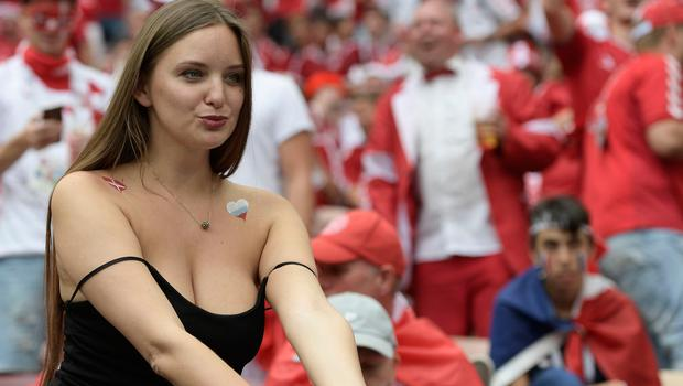 A football fan looks on before the Russia 2018 World Cup Group C football match between Denmark and France at the Luzhniki Stadium in Moscow on June 26, 2018.