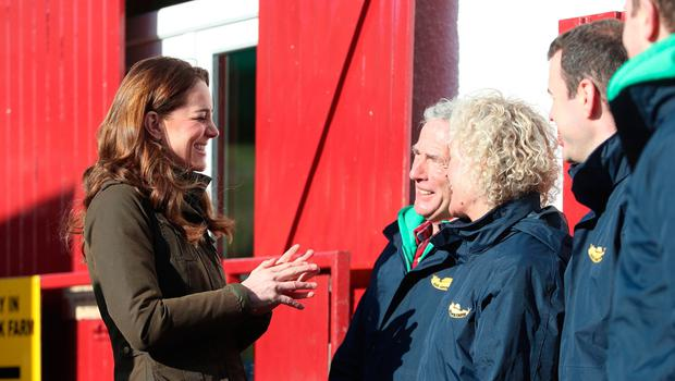 RETRANSMISSION AMENDING SPELLING OF NEWTOWNARDS The Duchess of Cambridge greets members of staff during a visit to The Ark Open Farm, at Newtownards, near Belfast, where she is meeting with parents and grandparents to discuss their experiences of raising young children for her Early Childhood survey. PA Photo. Picture date: Wednesday February 12, 2020. See PA story ROYAL Kate. Photo credit should read: Liam McBurney/PA Wire