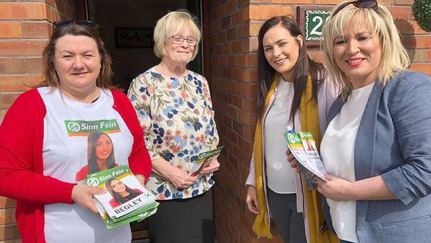 Sinn Fein's West Tyrone candidate Orfhlaith Begley (second right) (SF/PA)