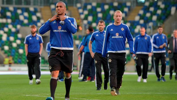 BELFAST, NORTHERN IRELAND - OCTOBER 8:  Northern Ireland's Josh Magennis makes his way off the pitch before this evening's Euro 2016 Group F international football match at Windsor Park on October 8, 2015 in Belfast, Northern Ireland.  (Photo by Charles McQuillan/Getty Images)