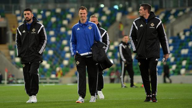 PACEMAKER BELFAST   08/10/2015 Northern Ireland v Greece    Euro 2016 Qualifier Group    Group F Northern Ireland's Conor McLaughlin  , Jonny Evans and Kyle Lafferty during this evenings game at Windsor park in Belfast. Photo Colm Lenaghan/Pacemaker Press