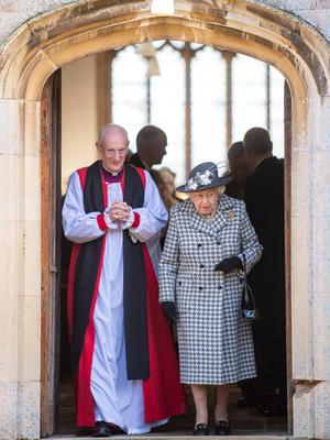 The Queen leaves the morning church service (Joe Giddnes/PA)