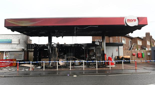 Damage caused following an arson attack on a vehicle at a filling station on Rosetta Road, Belfast in the early hours of this morning, Thursday, 19 December. Photo Colm Lenaghan/ Pacemaker Press