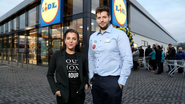 Derry Girls actress Jamie-Lee O'Donnell with store manager, Richard Mailey