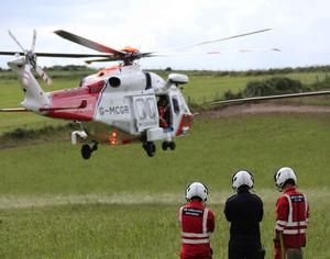 The woman was airlifted to hospital. .PICTURE KEVIN McAULEY/McAULEY Multimedia