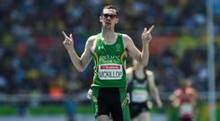 Michael McKillop of Ireland celebrates after winning the Men's 1500m T37 Final at the Olympic Stadium during the Rio 2016 Paralympic Games in Rio de Janeiro, Brazil. Photo by Paul Mohan/Sportsfile