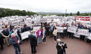 4rd September  2015  Famers and producers from all sections of the food producing industry hold protest at Stormont regarding the ongoing crisis concerning the price of food.   Picture by Jonathan Porter/PressEye