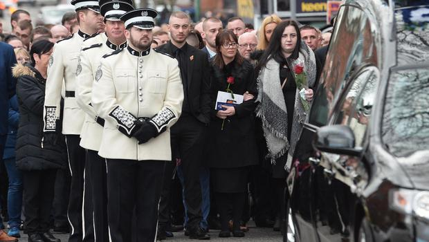 Ian Ogle's children Ryan and Toni  during the Funeral in east Belfast for murdered loyalist Ian Ogle. Mr Ogle was murdered by a loyalist gang close to his house in Cluan Place last Sunday night. Photo Colm Lenaghan/Pacemaker Press
