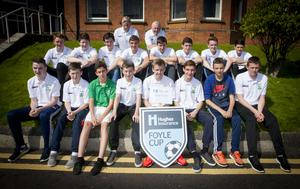 The Moville Celtic squad pictured at Tuesday's Hughes Insurance Foyle Cup parade in Magee.