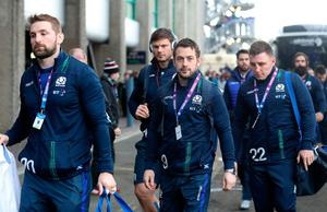 Scotland's John Barclay (left), Greig Laidlaw (centre), Ross Ford (back) and Duncan Weir (right) arriving before the RBS 6 Nations match at BT Murrayfield Stadium, Edinburgh. PRESS ASSOCIATION Photo. Picture date: Saturday February 4, 2017. See PA story RUGBYU Scotland. Photo credit should read: Owen Humphreys/PA Wire. RESTRICTIONS: Editorial use only, No commercial use without prior permission.