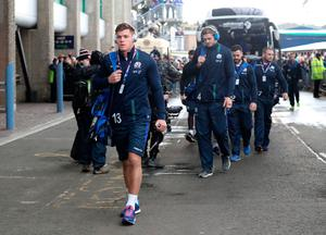 Scotland's Huw Jones (left) arriving before the RBS 6 Nations match at BT Murrayfield Stadium, Edinburgh. PRESS ASSOCIATION Photo. Picture date: Saturday February 4, 2017. See PA story RUGBYU Scotland. Photo credit should read: Owen Humphreys/PA Wire. RESTRICTIONS: Editorial use only, No commercial use without prior permission.