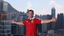 HONG KONG - MAY 31:  Jamie Roberts, the Lions centre, poses on top of the Grand Hyatt hotel after the British and Lions media session on May 31, 2013 in Hong Kong.  (Photo by David Rogers/Getty Images)
