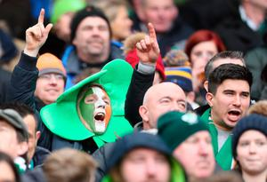 Ireland fans in the stands during the NatWest 6 Nations match at the Aviva Stadium, Dublin. PRESS ASSOCIATION Photo. Picture date: Saturday February 10, 2018. See PA story RUGBYU Ireland. Photo credit should read: Brian Lawless/PA Wire. RESTRICTIONS APPLY: Editorial use only. No commercial or promotional use without prior consent from IRFU. No alterations or doctoring.