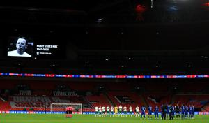 The players paid tribute to Nobby Stiles, Albert Quixall and Tony Waiters (Mike Egerton/PA)