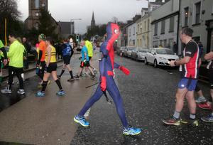 Press Eye - Kilbroney Park - Belfast Telegraph Run Forest Run Race - 2nd January 2016 Photograph By Declan Roughan  The 5th Born2Run Belfast Telegraph Run Forest Run at Kilbroney Park, Rostrevor, Co Down.  Andy Gibson from Newtownards dressed as Spiderman