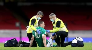 Ireland's Johnny Sexton suffered a head injury against Wales (David Davies/PA)