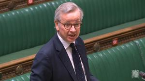 Cabinet Office minister Michael Gove answers a question from former PM Theresa May about the new national security adviser (House of Commons/PA)