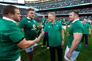 CHICAGO, IL - NOVEMBER 05:  Joe Schmidt the head coach of Ireland congratulates his players following their 40-29 victory during the international match between Ireland and New Zealand at Soldier Field on November 5, 2016 in Chicago, United States.  (Photo by Phil Walter/Getty Images)