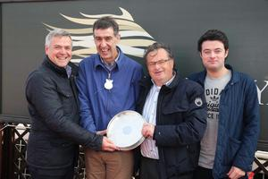 Northern Ireland Festival of Racing at Down Royal Racecourse - Day 1  Race 2 (1:35pm) Allianz Handicap Hurdle  Dean McGrath from Allianz presents Jack Woods, Bernard Woods and trainer Patrick Downey representing  The King of Brega   Picture by Kelvin Boyes / Press Eye.