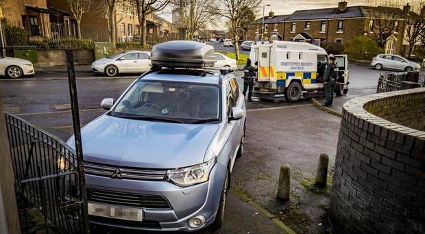 Police recover a stolen car following a pursuit ending in the Leeson Street area of west Belfast on January 10th 2020 (Photo by Kevin Scott for Belfast Telegraph)