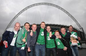 Republic of Ireland fans before the International Friendly match at Wembley Stadium, London. PRESS ASSOCIATION Photo. Picture date: Wednesday May 29, 2013. See PA story SOCCER England. Photo credit should read: Nick Potts/PA Wire. RESTRICTIONS: Use subject to FA restrictions. Editorial use only. Commercial use only with prior written consent of the FA. No editing except cropping. Call +44 (0)1158 447447 or see www.paphotos.com/info/ for full restrictions and further information.
