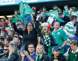Ireland's supporters cheer on their team during the second half of a rugby match against New Zealand, Saturday, Nov. 5, 2016, in Chicago. (AP Photo/Kamil Krzaczynski)