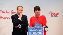 Party leader Arlene Foster and deputy leader Nigel Dodds at the launch of the DUP manifesto at the Old Courthouse in Antrim for the upcoming General Election. PA