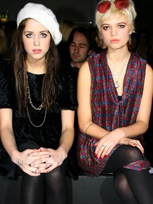 Sisters Peaches (L) and Pixie Geldof attend the PPQ collection during London Fashion Week Autumn/Winter 2008 on February 11, 2008 in London, England.  (Photo by Gareth Cattermole/Getty Images)