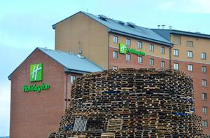 Pacemaker Press Belfast 11-07-2016:  Pallets for a bonfire are stacked near Sandy Row in Belfast, Northern Ireland. Picture By: Pacemaker.