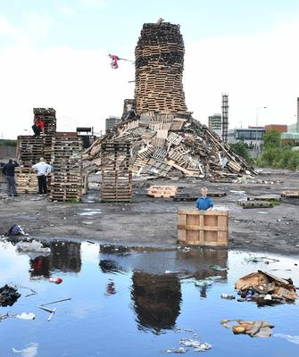 Pacemaker Press 11/7/2016 Preparations  the for 11th night  Bonfire at Donegall Road in Belfast, ahead of the 12th of July celebration across Northern Ireland. Pic Colm Lenaghan/ Pacemaker