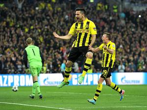 Borussia Dortmund's IIkay Gundogan celebrates scoring his teams first goal of the game from the penalty spot during the UEFA Champions League Final at Wembley Stadium, London. PRESS ASSOCIATION Photo. Picture date: Saturday May 25, 2013.