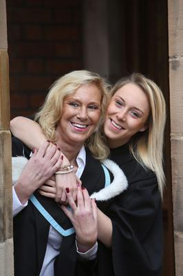 Queen's graduate Madi McKnight and her daughter Melissa. Madi is graduating with a degree in Criminology, while daughter Melissa has graduated from the University of Bradford with a physiotherapy degree. Photo/Paul McErlane