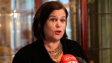 Mary Lou McDonald at the Carrickdale Hotel in County Louth on Friday. Photo credit: Sinn Fein/PA Wire