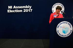 DUP leader Arlene Foster speaking at Omagh count centre during the Northern Ireland Assembly elections. Brian Lawless/PA Wire