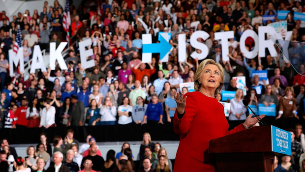 Democratic presidential nominee former Secretary of State Hillary Clinton speaks during a campaign rally at North Carolina State University on November 8, 2016 in Raleigh North Carolina. With less than 24 hours until Election Day in the United States, Hillary Clinton is campaigning in Pennsylvania, Michigan and North Carolina.  (Photo by Justin Sullivan/Getty Images)