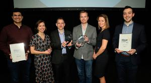 Neasa Quigley, senior partner, Carson McDowell, and Sarah Little, INM Publishing, with Chris Wallace from Rapid 7 and team, Overall IT Company of the Year