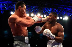 LONDON, ENGLAND - APRIL 29:  Anthony Joshua (White Shorts) and Wladimir Klitschko (Gray Shorts) in action during the IBF, WBA and IBO Heavyweight World Title bout  at Wembley Stadium on April 29, 2017 in London, England.  (Photo by Richard Heathcote/Getty Images) *** BESTPIX ***