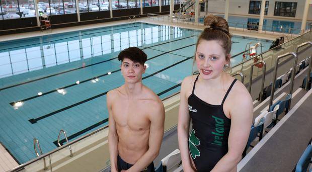 In the swim: Jack McMillan and Amelia Kane at the new Lisnasharragh swimming pool