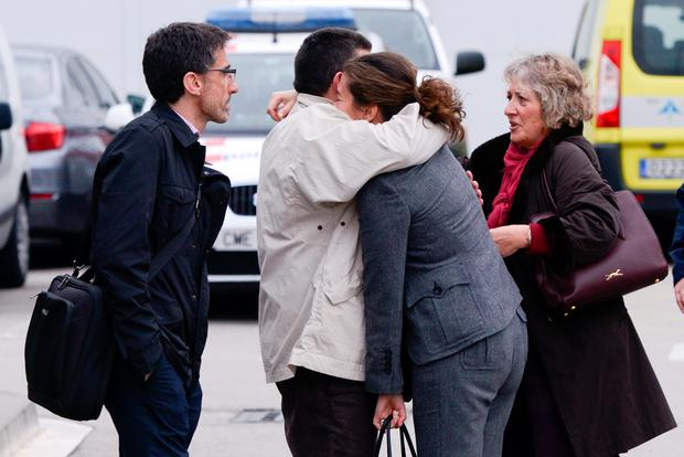 BARCELONA, SPAIN- MARCH 24:  Relatives of passangers of the Germanwings plane crashed in French Alps arrive at the Terminal 2 of the Barcelona El Prat airport on March 24, 2015 in Barcelona, Spain. A Germanwings Airbus A320 airliner with 148 people on board has crashed in French Alps.  (Photo by David Ramos/Getty Images)