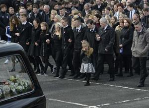 The funeral of five pier victims takes place at Holy Family Church, Ballymagroarty on Thursday. The victims were Ruth Daniels, her 14-year-old daughter Jodie Lee Daniels, her son-in-law Sean McGrotty, and his sons Mark, 12, and Evan, eight.  The only survivor was Mr McGrotty's four-month old daughter, Rionaghac-Ann. They died after their car slid off a pier in Buncrana County Donegal. Photo Colm Lenaghan/Pacemaker Press
