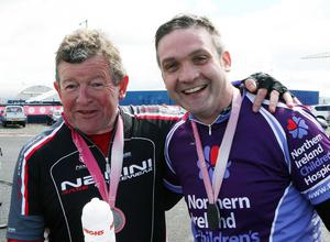 Patrick O'Reilly and Johnny McBrien from Lisnaskea take a breather after the Gran Fondo. Pic: Freddie Parkinson/Press Eye.
